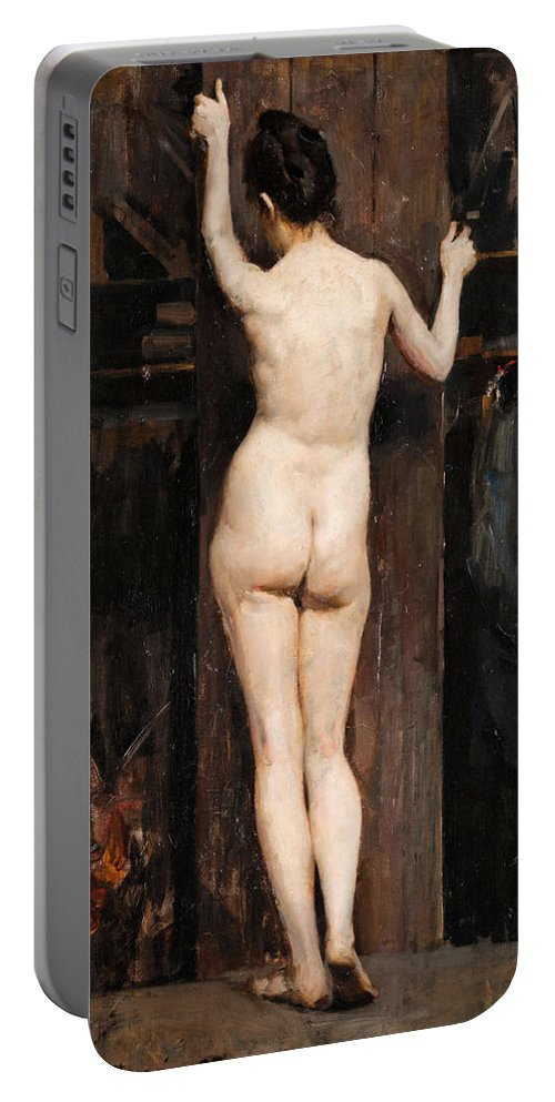 Akseli Gallen-kallela Portable Battery Charger featuring the painting Nude Model by Akseli Gallen-Kallela