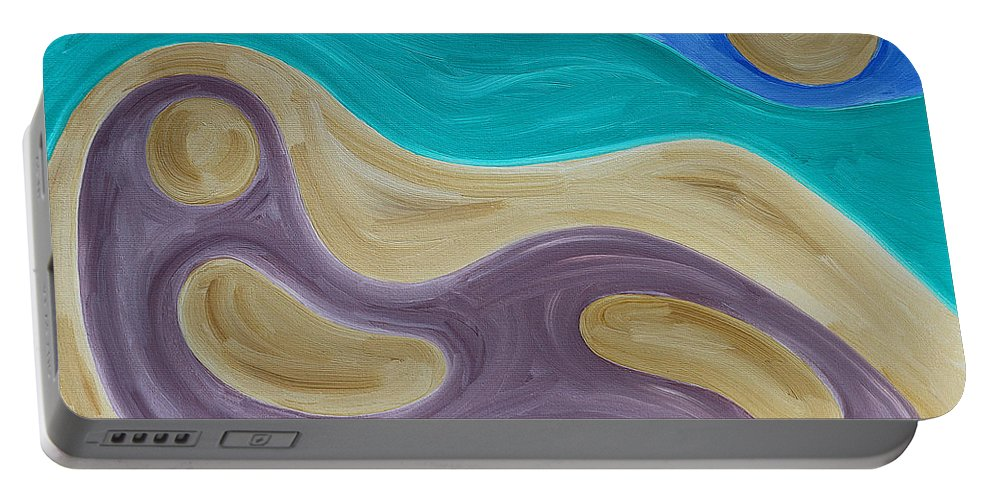 Beach Portable Battery Charger featuring the painting Nude On Beach by Patrick J Murphy