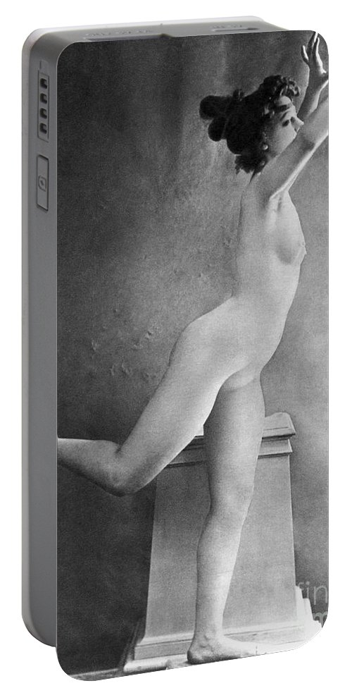 1900 Portable Battery Charger featuring the photograph Nude Posing, C1900 by Granger