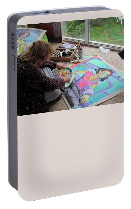 Landscape Portable Battery Charger featuring the painting Nude by Raquel Sarangello