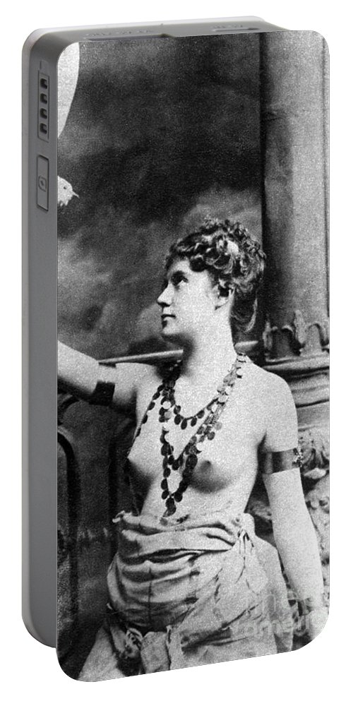 1899 Portable Battery Charger featuring the painting Nude With Bird, 1899 by Granger