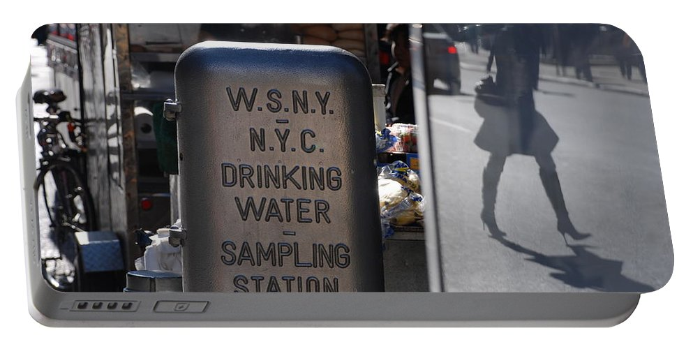 Street Scene Portable Battery Charger featuring the photograph Nyc Drinking Water by Rob Hans