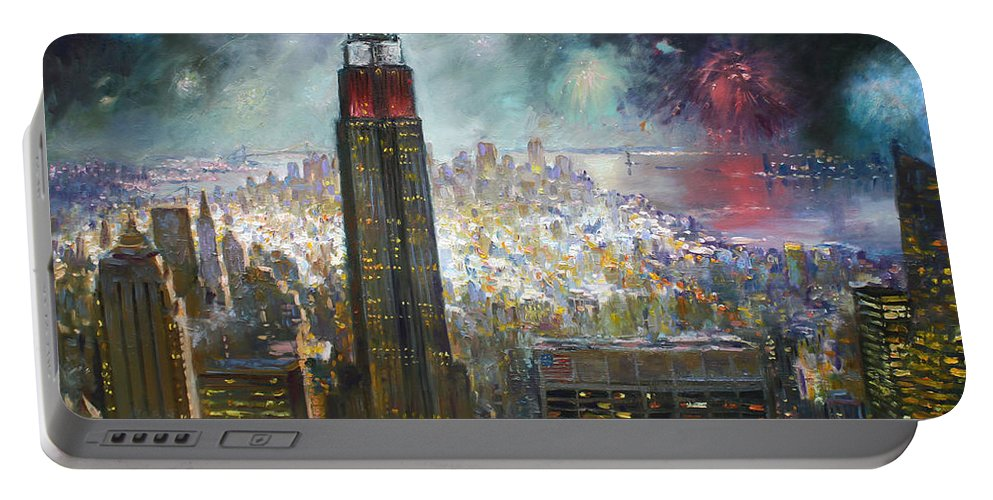 Landscape Portable Battery Charger featuring the painting Nyc. Empire State Building by Ylli Haruni