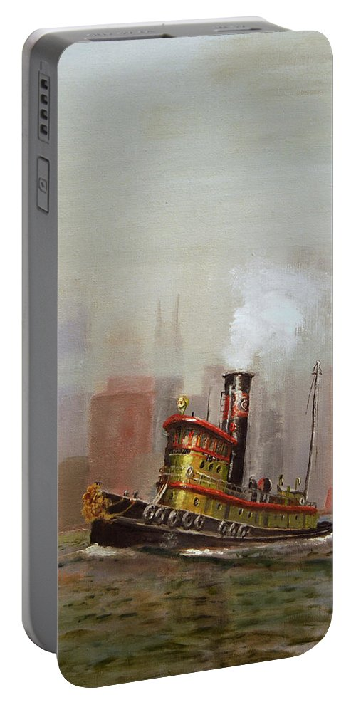 Tug Portable Battery Charger featuring the painting Nyc Tug by Christopher Jenkins