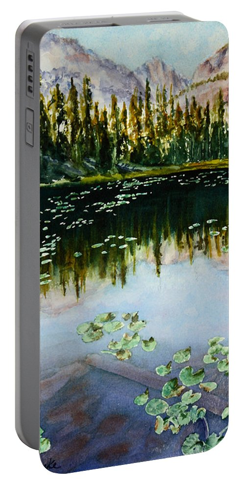 Nymph Lake Portable Battery Charger featuring the painting Nymph Lake by Mary Benke