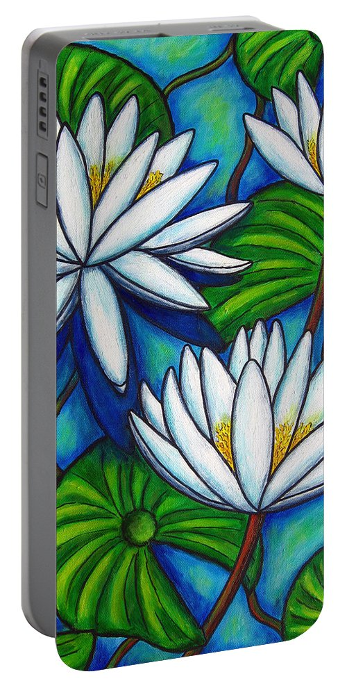 Lily Portable Battery Charger featuring the painting Nymphaea Blue by Lisa Lorenz
