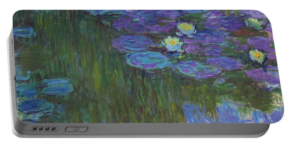 Claude Monet Portable Battery Charger featuring the painting Nympheas En Fleur, 1914 To 1917 by Claude Monet