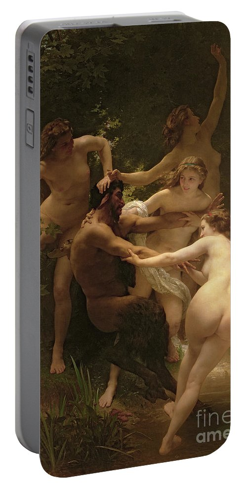 Nymphs And Satyr Portable Battery Charger featuring the painting Nymphs And Satyr by William Adolphe Bouguereau