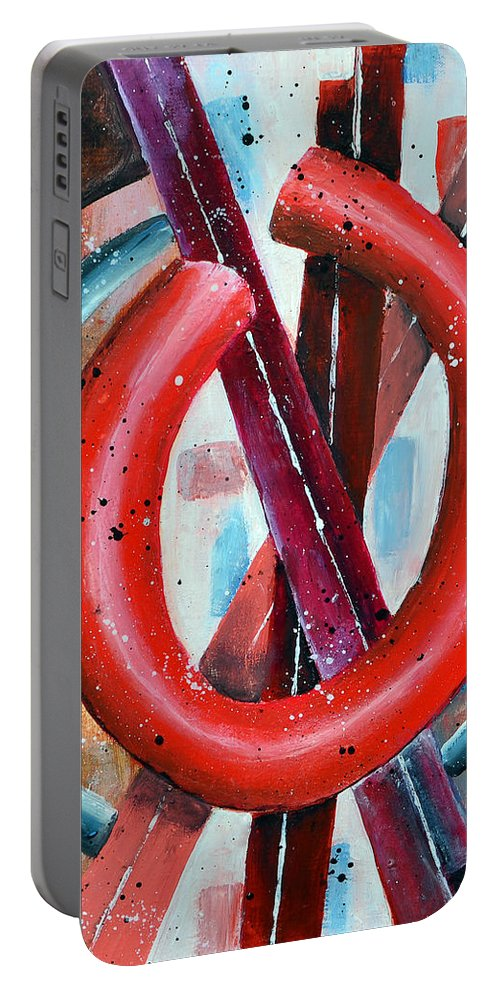 O Portable Battery Charger featuring the painting O by James Pinkerton