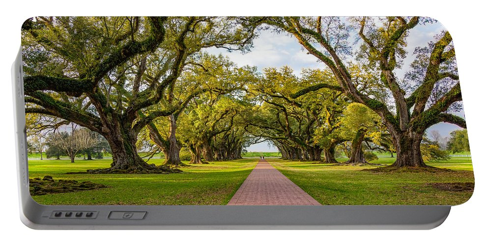 Oak Alley Plantation Portable Battery Charger featuring the photograph Oak Alley Path 2 by Steve Harrington