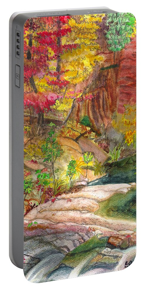 Red Maple Portable Battery Charger featuring the painting Oak Creek West Fork by Eric Samuelson