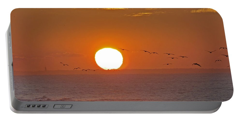 Sunset Portable Battery Charger featuring the photograph Oak Island Lighthouse by Robert Ponzoni