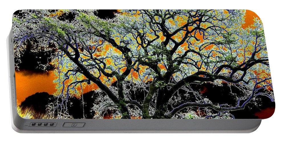 Oak Tree Portable Battery Charger featuring the digital art Oak Oasis by Will Borden