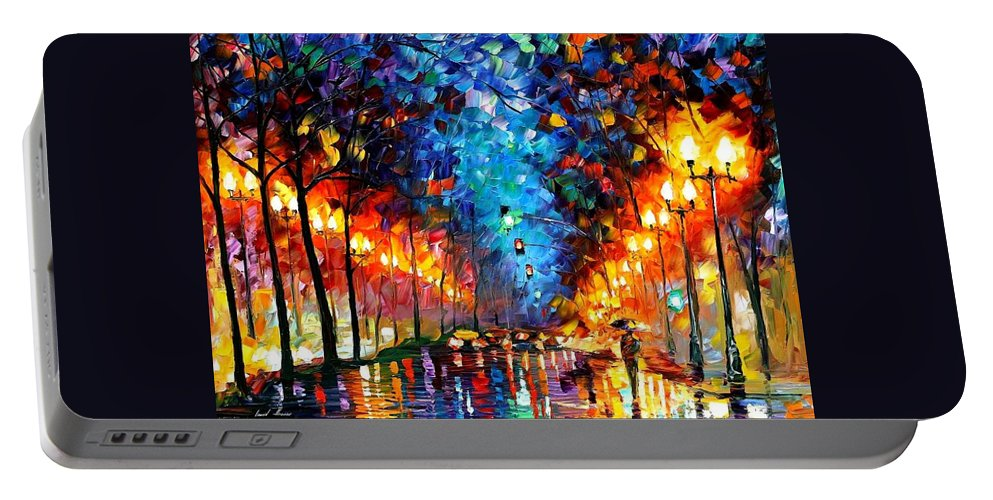 Afremov Portable Battery Charger featuring the painting Oakland Rain by Leonid Afremov