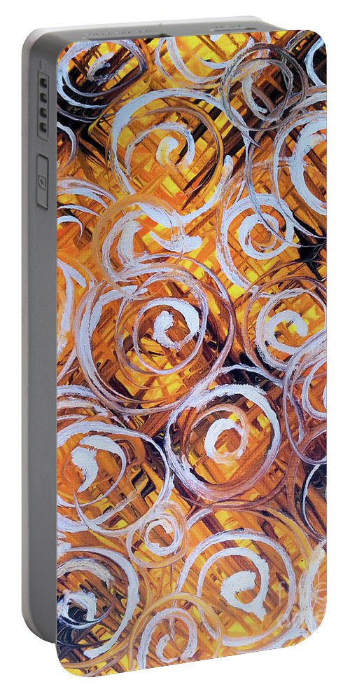 White Portable Battery Charger featuring the painting Oat Harvest by Jackie Carpenter
