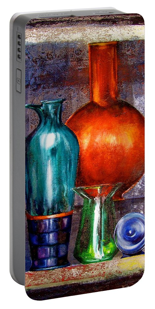 Painting Portable Battery Charger featuring the painting Objects by Laura Pierre-Louis