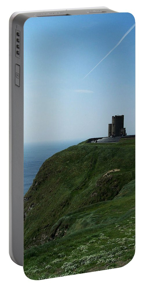 Irish Portable Battery Charger featuring the photograph O'brien's Tower At The Cliffs Of Moher Ireland by Teresa Mucha
