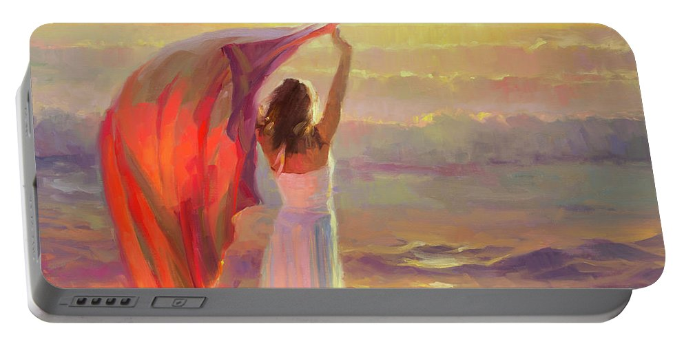 Ocean Portable Battery Charger featuring the painting Ocean Breeze by Steve Henderson