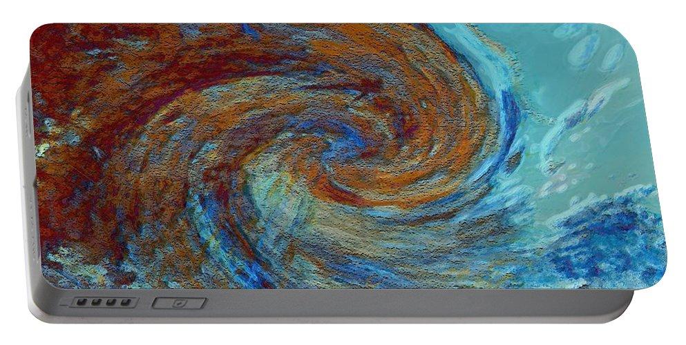 Hurricane Portable Battery Charger featuring the digital art Ocean colors by Linda Sannuti