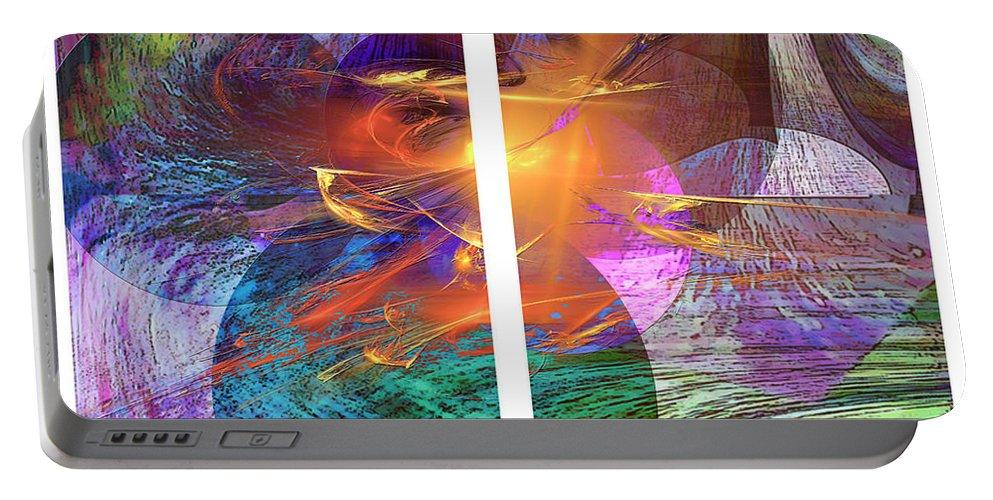 Ocean Fire Portable Battery Charger featuring the digital art Ocean Fire by John Beck