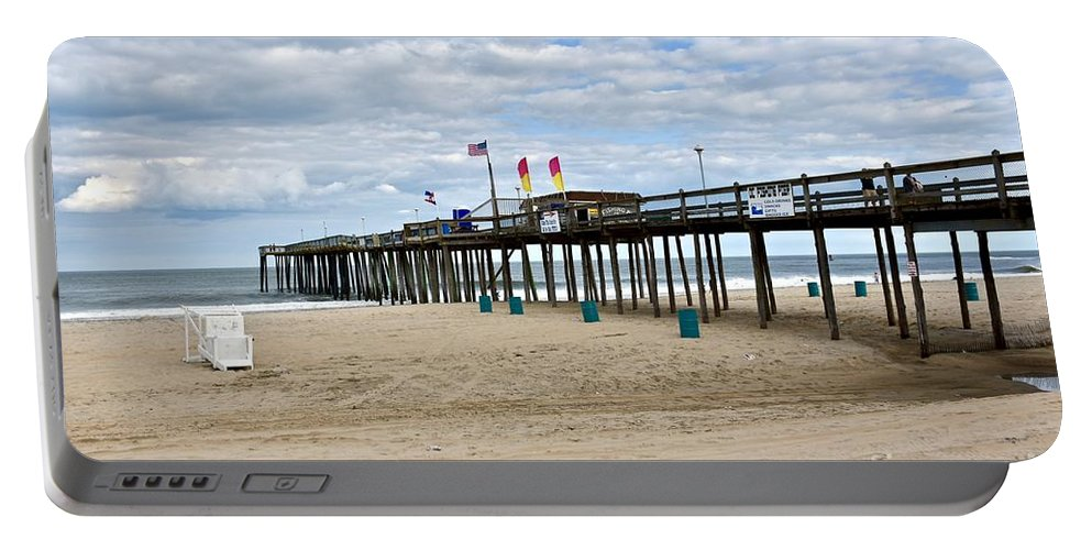 Beach Portable Battery Charger featuring the photograph Ocean Fishing Pier by Jeramey Lende