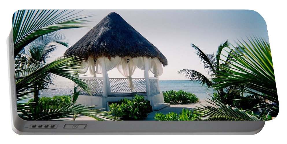 Resort Portable Battery Charger featuring the photograph Ocean Gazebo by Anita Burgermeister