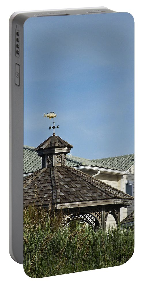 Ocean Portable Battery Charger featuring the photograph Ocean Isle Fish Weathervane by Teresa Mucha