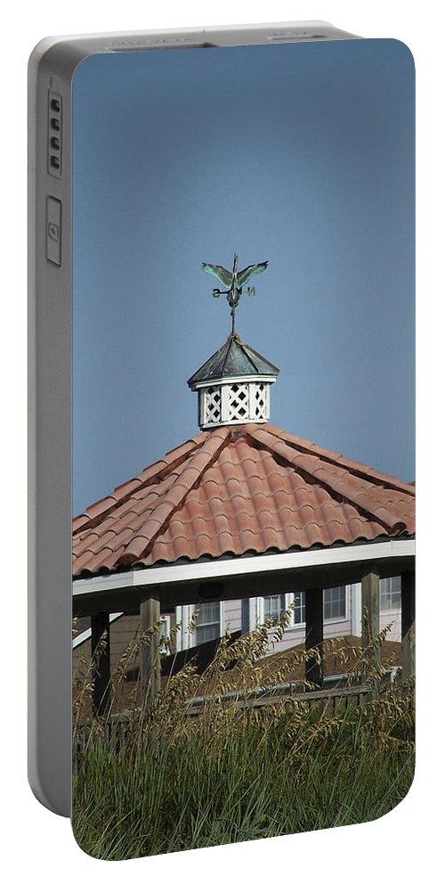 Ocean Portable Battery Charger featuring the photograph Ocean Isle Pelican Weathervane by Teresa Mucha