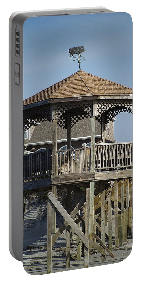 Ocean Portable Battery Charger featuring the photograph Ocean Isle Pig Weathervane by Teresa Mucha