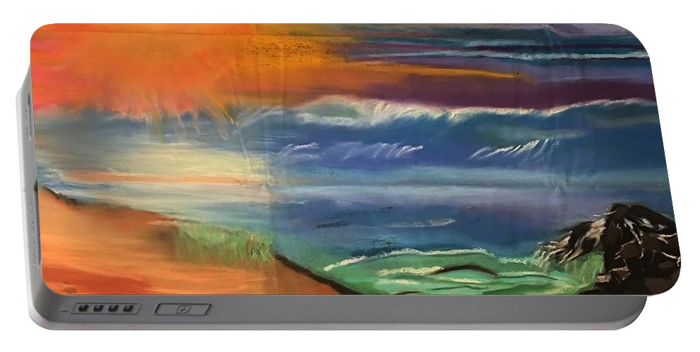 #colorfulpastel #smudgeart # Oceanview #verylargepastelart #naturalviews #nature #theocean #enchantingwater #beach #sunset #sunsetoverwater Portable Battery Charger featuring the pastel Ocean Magic by Tara Rocker