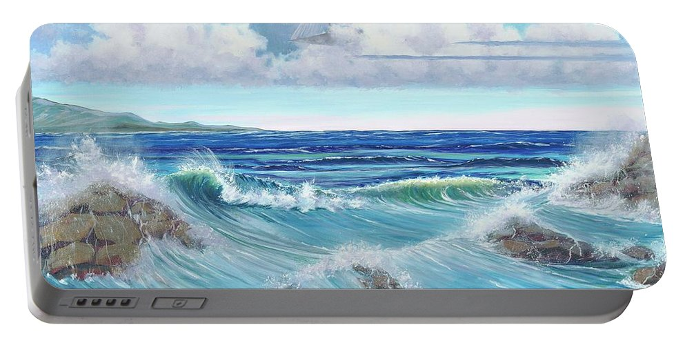 Seascape Portable Battery Charger featuring the painting Ocean Pyramid by Gail Krol