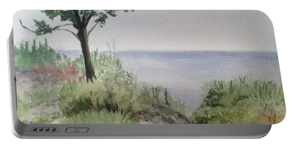 Watercolor Portable Battery Charger featuring the painting Ocean Scene by Katherine Berlin