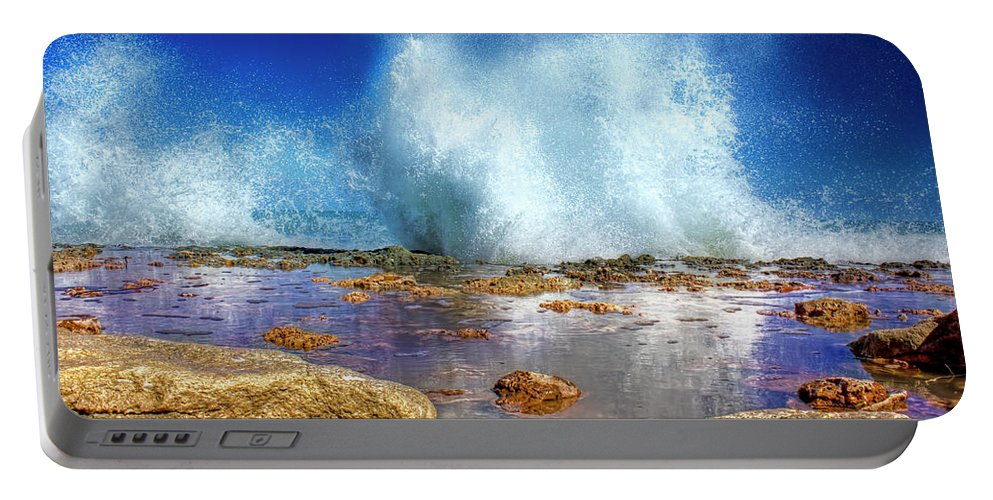 Ocean Portable Battery Charger featuring the photograph Ocean Spray by Mark Andrew Thomas