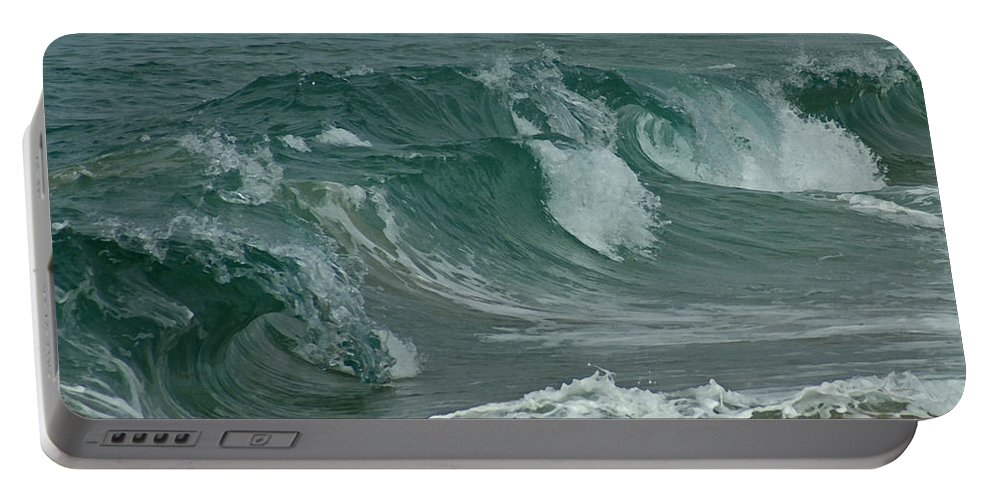 Ocean Portable Battery Charger featuring the mixed media Ocean Waves 2 by Ernie Echols