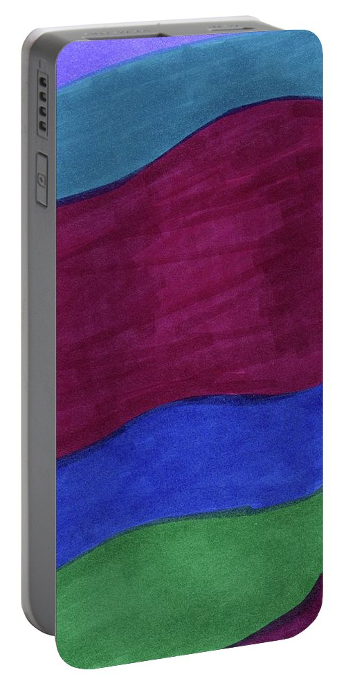 Ocean Water Spirit Element Lines Abstract Space Astrology Astronomy Desert Portable Battery Charger featuring the drawing Oceans 1 by Krista Payne