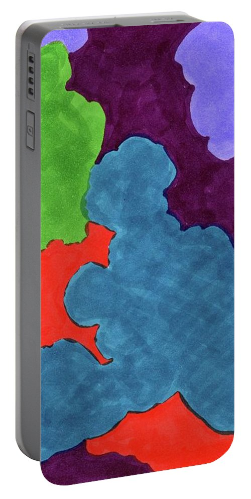 Ocean Water Spirit Element Lines Abstract Space Astrology Astronomy Desert Portable Battery Charger featuring the drawing Oceans 2 by Krista Payne