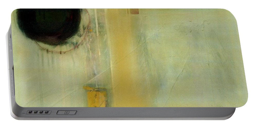Abstract Portable Battery Charger featuring the painting Ochre Wash Jump by Marlene Burns