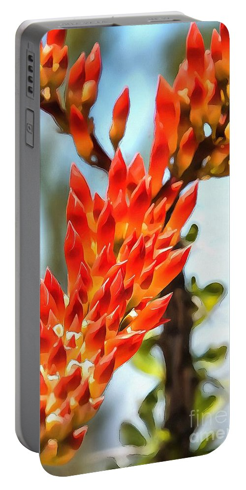 Arid Portable Battery Charger featuring the digital art Octillo Flower. by Michael Farndell