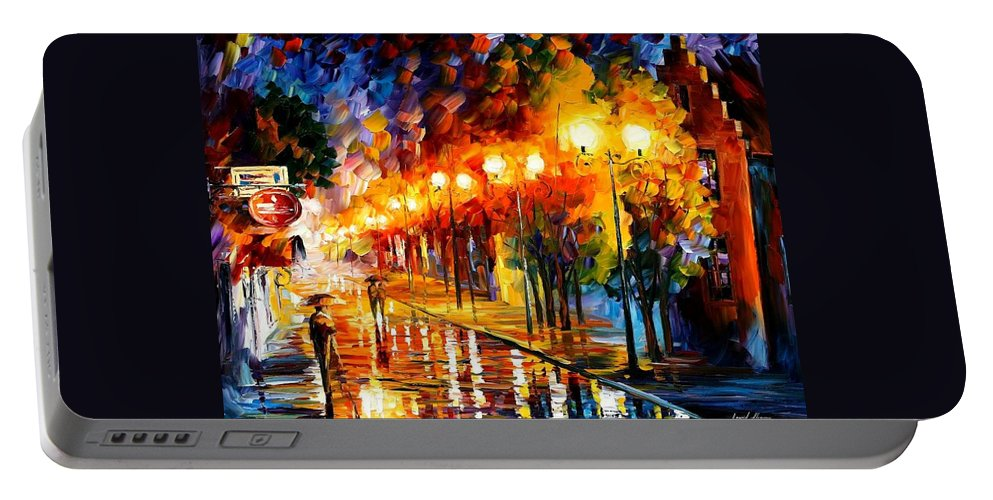 Afremov Portable Battery Charger featuring the painting October Fog by Leonid Afremov