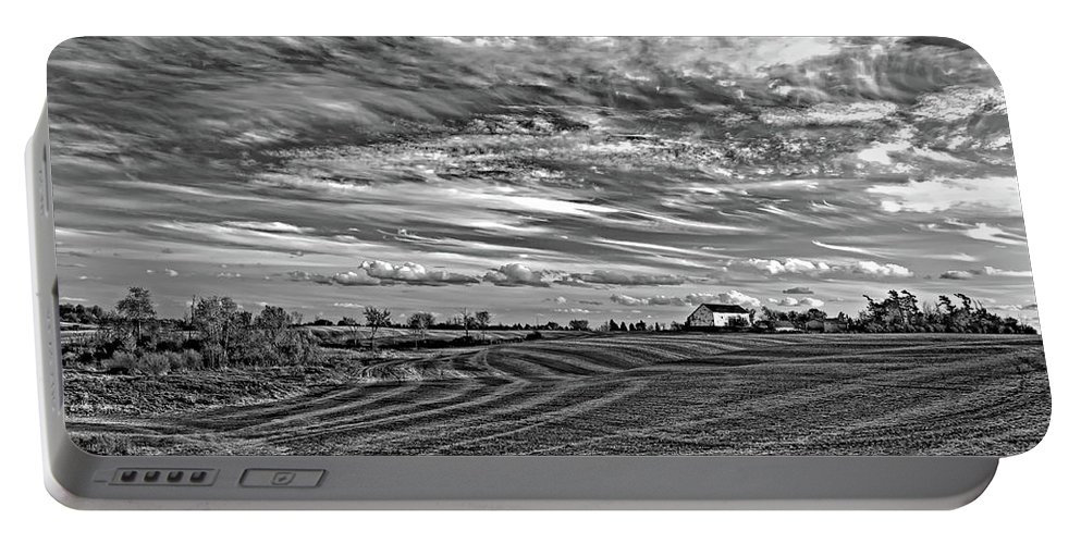 Landscape Portable Battery Charger featuring the photograph October Patterns Bw by Steve Harrington