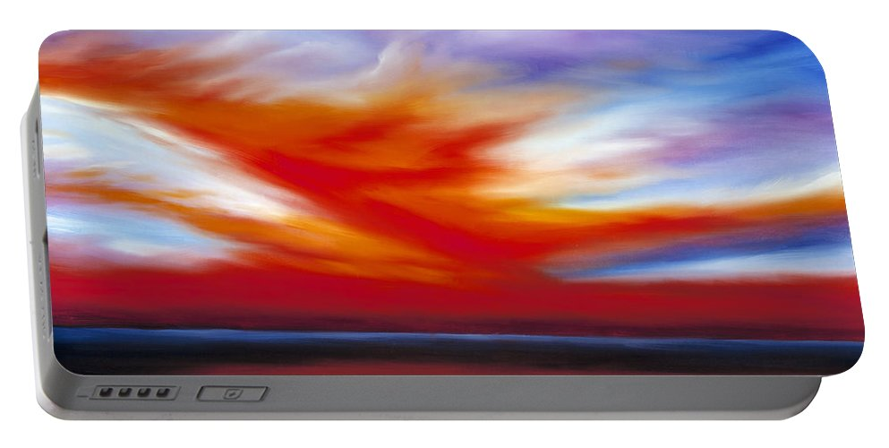 Seascape Portable Battery Charger featuring the painting October Sky II by James Christopher Hill