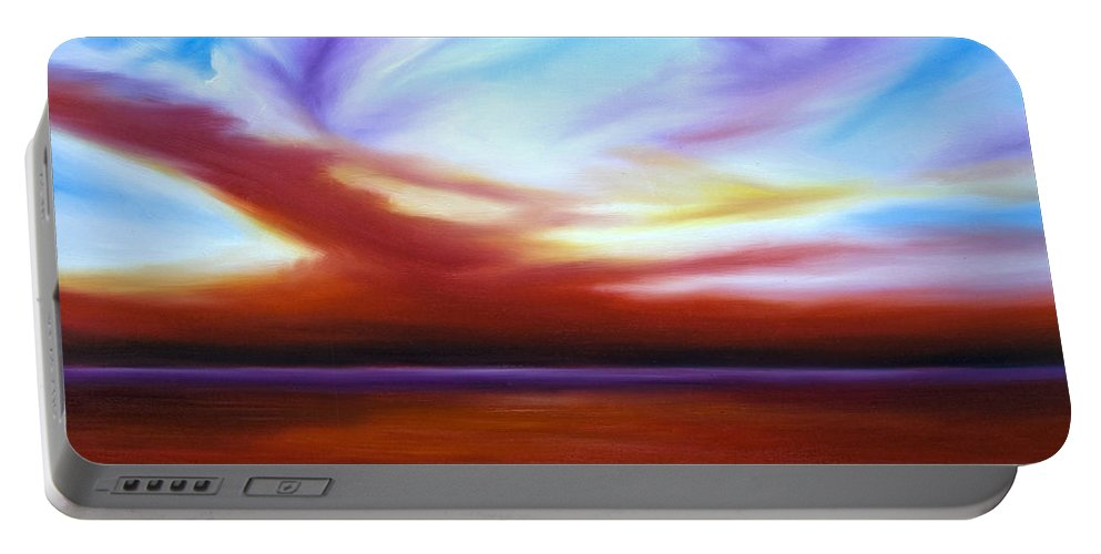 Skyscape Portable Battery Charger featuring the painting October Sky IIi by James Christopher Hill