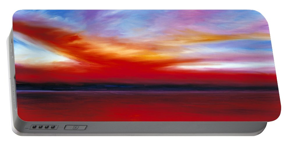 Clouds Portable Battery Charger featuring the painting October Sky by James Christopher Hill