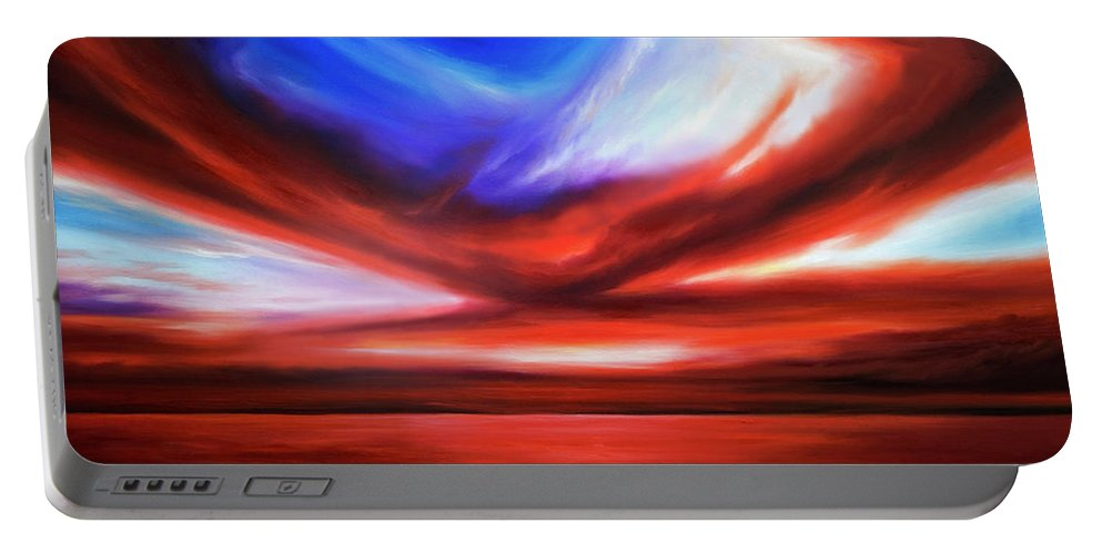 Sunrise; Sunset; Power; Glory; Cloudscape; Skyscape; Purple; Red; Blue; Stunning; Landscape; James C. Hill; James Christopher Hill; Jameshillgallery.com; Ocean; Lakes; Storm; Tornado; Lightning Portable Battery Charger featuring the painting October Sky V by James Christopher Hill