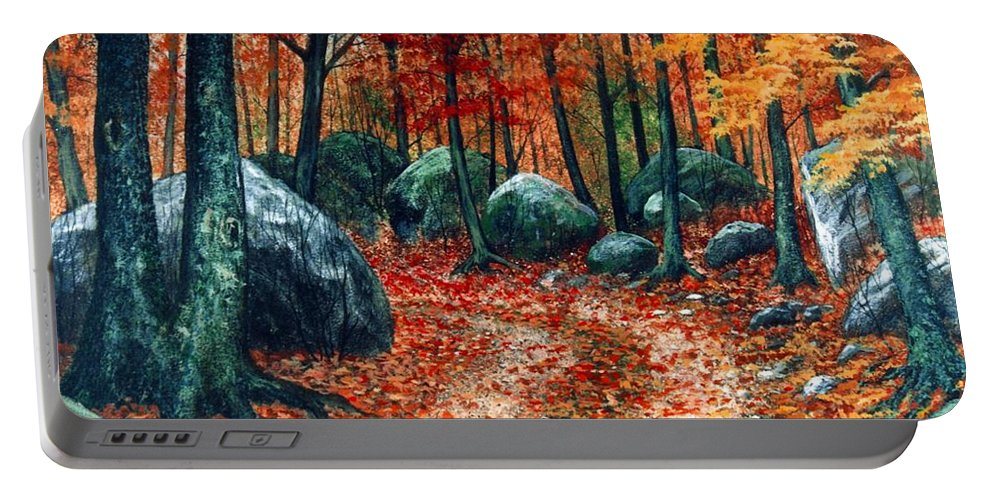 Landscape Portable Battery Charger featuring the painting October Woodland by Frank Wilson