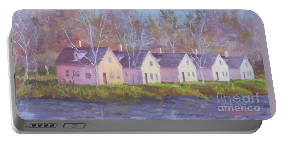 Architecture Portable Battery Charger featuring the painting October's Light On Peanut Row by Alicia Drakiotes