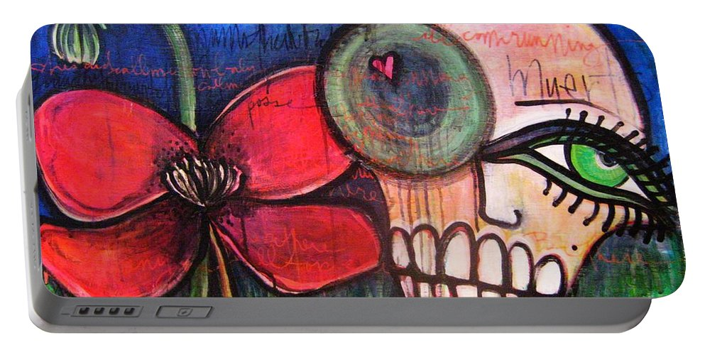 Skulls Portable Battery Charger featuring the painting Ode To Kings by Laurie Maves ART