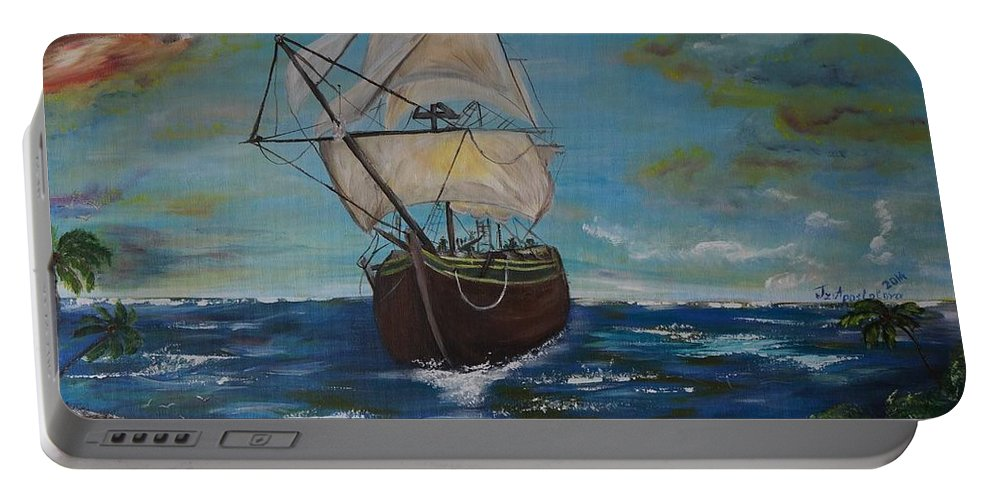Acrylic On Canvas Portable Battery Charger featuring the painting Odyssey by Tzvetanka Apostolova