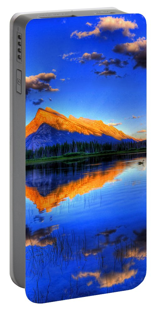 Mountain Portable Battery Charger featuring the photograph Of Geese and Gods by Scott Mahon