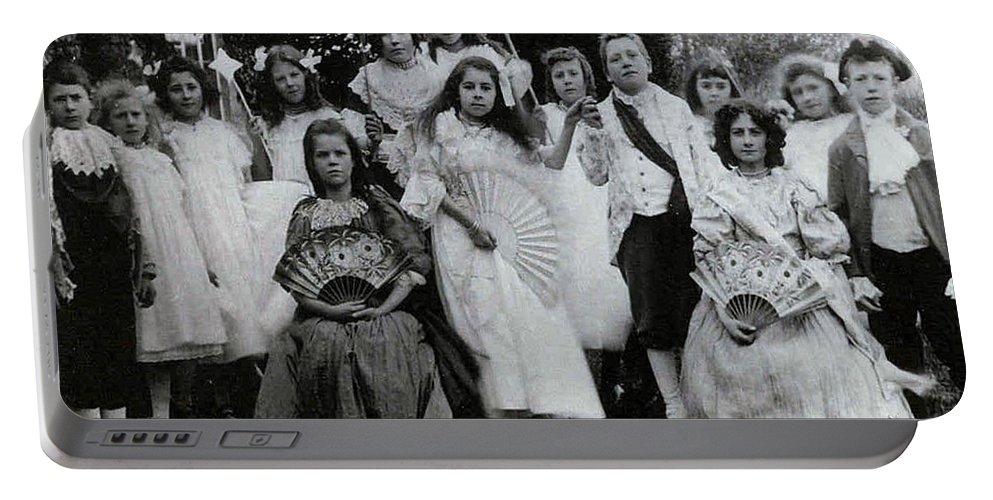 Classic Black And White Old Photo Pioneers Old Days 1900s Kids Children Boys Girls Prince Princess Portable Battery Charger featuring the photograph Of Prince And Princess by Andrea Lawrence